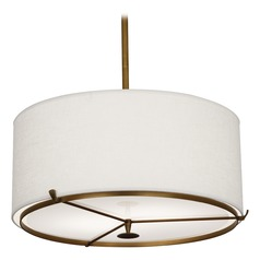 Robert Abbey Edwin Aged Brass / Walnut Wood Pendant Light with Drum Shade