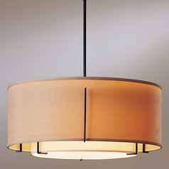 Hubbardton Forge Lighting Exos Black Pendant Light with Drum Shade