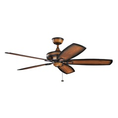 Kichler Lighting Ashbyrn Mediterranean Walnut Ceiling Fan Without Light