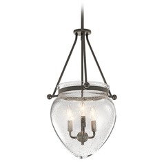 Seeded Glass Pendant Light Bronze Kichler Lighting