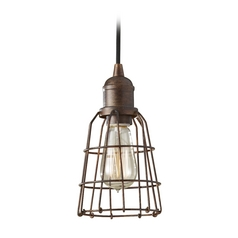 Industrial / Vintage Mini-Pendant Light with Cage Shade