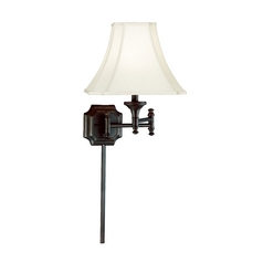 Swing Arm Lamp with Beige / Cream Shade in Burnished Bronze Finish