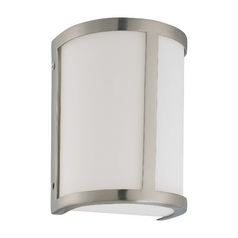 Sconce Wall Light with White Glass in Brushed Nickel Finish