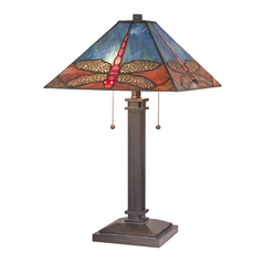 Dragonfly Table Lamp with Tiffany Glass Shade