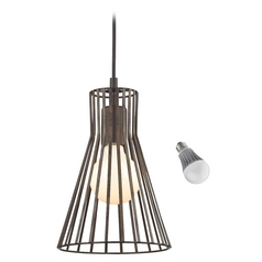 Capsule Mini-Pendant Light with Bronze Slatted Shade and LED Bulb