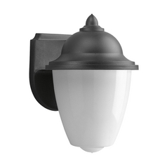 Progress Outdoor Wall Light with White in Black Finish