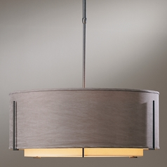 Hubbardton Forge Lighting Exos Natural Iron Pendant Light with Drum Shade