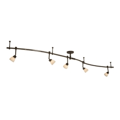 Modern Bronze Rail Light Kit and Five lights - 16-Feet Long