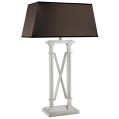 Modern Table Lamp with Black Shades in Chrome Finish