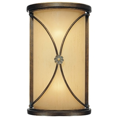 Sconce Wall Light with Beige / Cream Glass in Deep Flax Bronze Finish