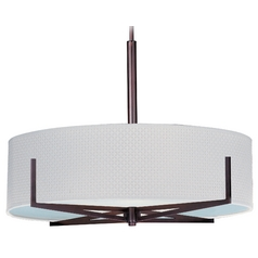 Modern Pendant Light with White Shades in Oil Rubbed Bronze Finish