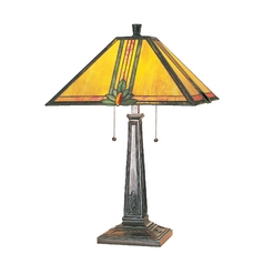 Table Lamp with Art Glass in Antique Bronze Finish