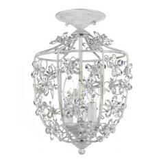 Crystal Semi-Flushmount Light in Antique White Finish