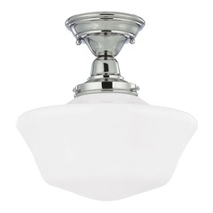 12-Inch Schoolhouse Ceiling Light in Polished Nickel Finish