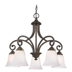 Chandelier with White Glass in Neuvelle Bronze Finish