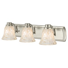 3-Light Mosaic Glass Bath Wall Light in Satin Nickel