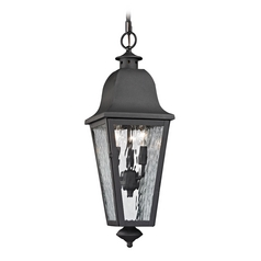 Outdoor Hanging Light with Clear Glass in Charcoal Finish