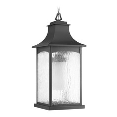 Water Seeded Glass Outdoor Hanging Light Black Progress Lighting