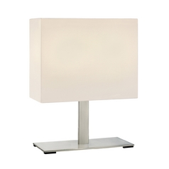 Modern Table Lamp with White Shades in Satin Nickel Finish