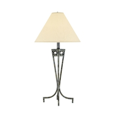 Lite Source Lighting Tessuto Pewter Table Lamp with Coolie Shade