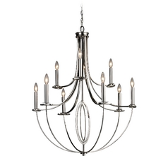 Modern Chandelier in Polished Nickel Finish