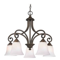 Chandelier with White Glass in Bronze Finish
