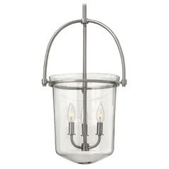 Brushed Nickel Hanging Lantern Light with Clear Glass