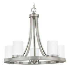 Satin Nickel Chandelier with White Glass 5-Light