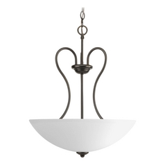 Progress Pendant Light with White Glass in Antique Bronze Finish