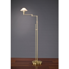 Holtkoetter Modern Swing Arm Lamp with Alabaster Glass in Brushed Brass Finish