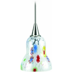 Modern Low Voltage Mini-Pendant Light with White Glass