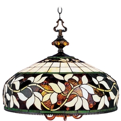 Chandelier with Tiffany Glass in Bronze Finish