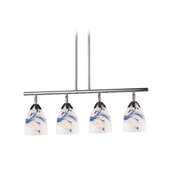 Island Light with Art Glass in Polished Chrome Finish
