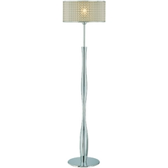 Lite Source Lighting Chrome Floor Lamp with Drum Shade
