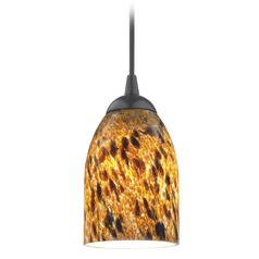 Design Classics Lighting Modern Mini-Pendant Light with Brown Art Glass 582-07 GL1005D