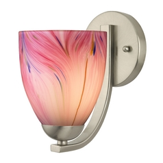 Sconce with Pink Art Glass in Satin Nickel Finish