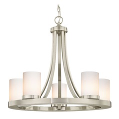 Satin Nickel Chandelier with Gloss White Glass 5-Light