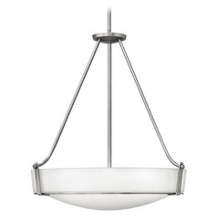 Modern Pendant Light with White Glass in Antique Nickel Finish