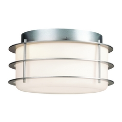 Modern Flushmount Light with White Glass in Vista Silver Finish