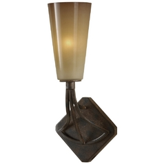 Sconce Wall Light with White Glass in Mocha Bronze Finish