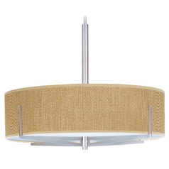 Modern Pendant Light with Brown Shades in Satin Nickel Finish