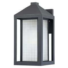 Minka Lighting Outdoor Wall Light with White Glass in Black Finish 72272-66