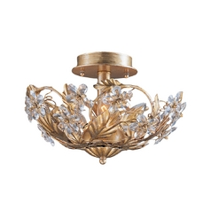 Crystorama Lighting Crystal Semi-Flushmount Light in Gold Leaf Finish 5305-GL