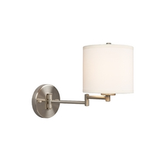 Adjustable Swing Arm Lamp with Linen Shade