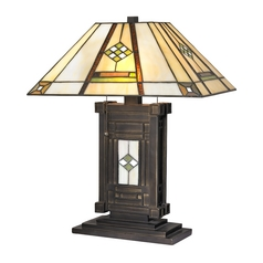 Design Classics Lighting Bronze Table Lamp with Tiffany Shade and Two Lights 1633 BZ