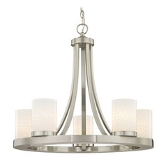 Satin Nickel Chandelier with White Art Glass 5- Light