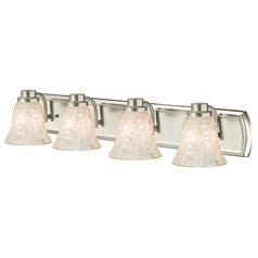 4-Light Mosaic Glass Bath Wall Light in Satin Nickel