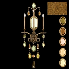 Fine Art Lamps Encased Gems Gold Leaf Sconce