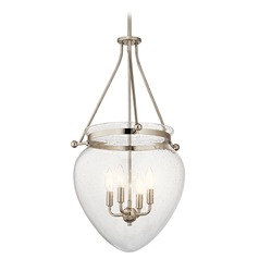 Kichler Lighting Belle Polished Nickel Pendant Light with Bowl / Dome Shade