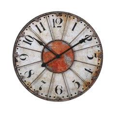 Clock in Crackled Ivory Finish